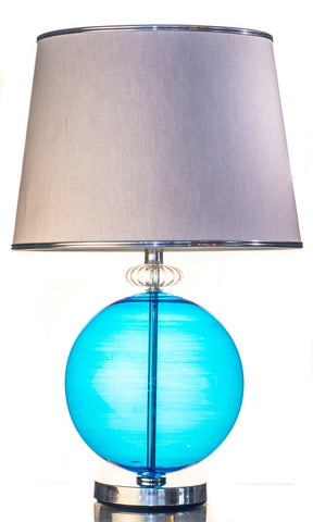 Modern Blue Pyrex Glass Table Lamp