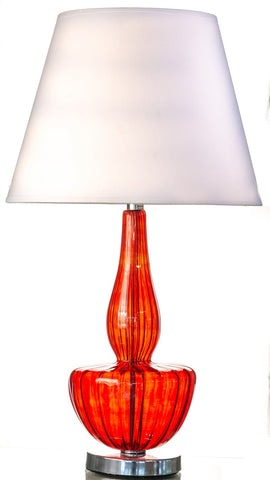 Modern Red Pyrex Glass Table Lamp