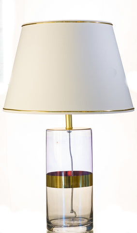 Modern Clear with Gold Strip Glass Table Lamp
