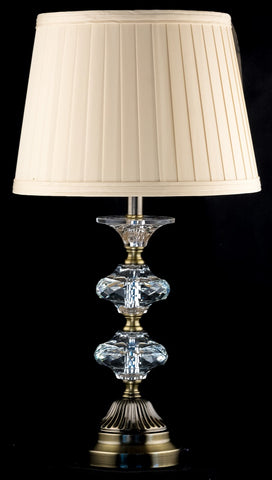 Bronze and Crystal Table Lamp