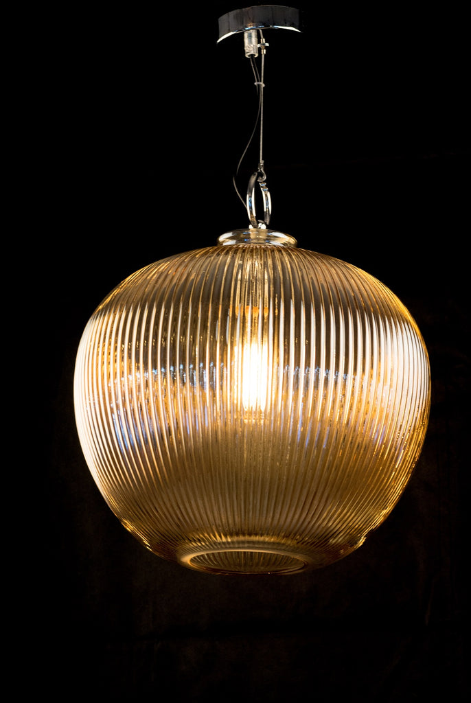 Amber Glass Ball Pendant Light
