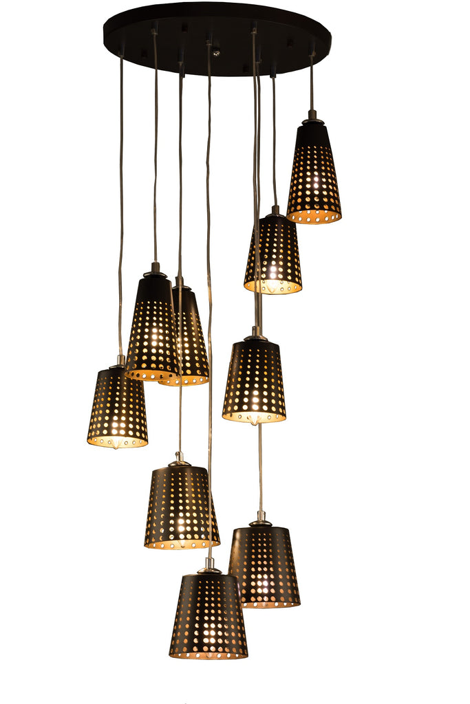 9 Light Modern Black Retro Pendant