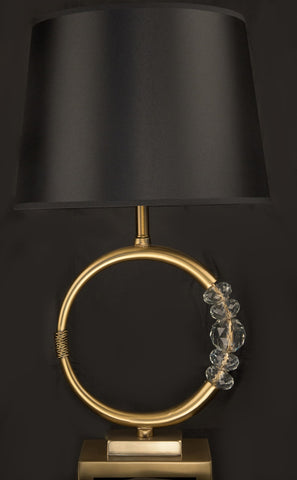 Golden Crystal and Cooper Table Lamp