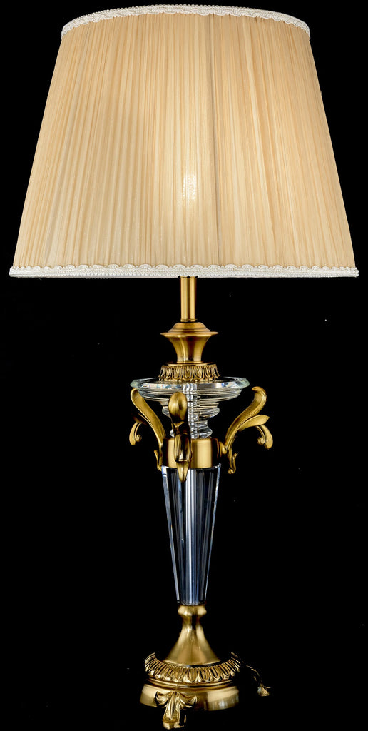 Luxurious Classic Bronze and Crystal Table Lamp
