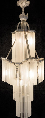 French Style Silver Brass Glass Tube Chandelier