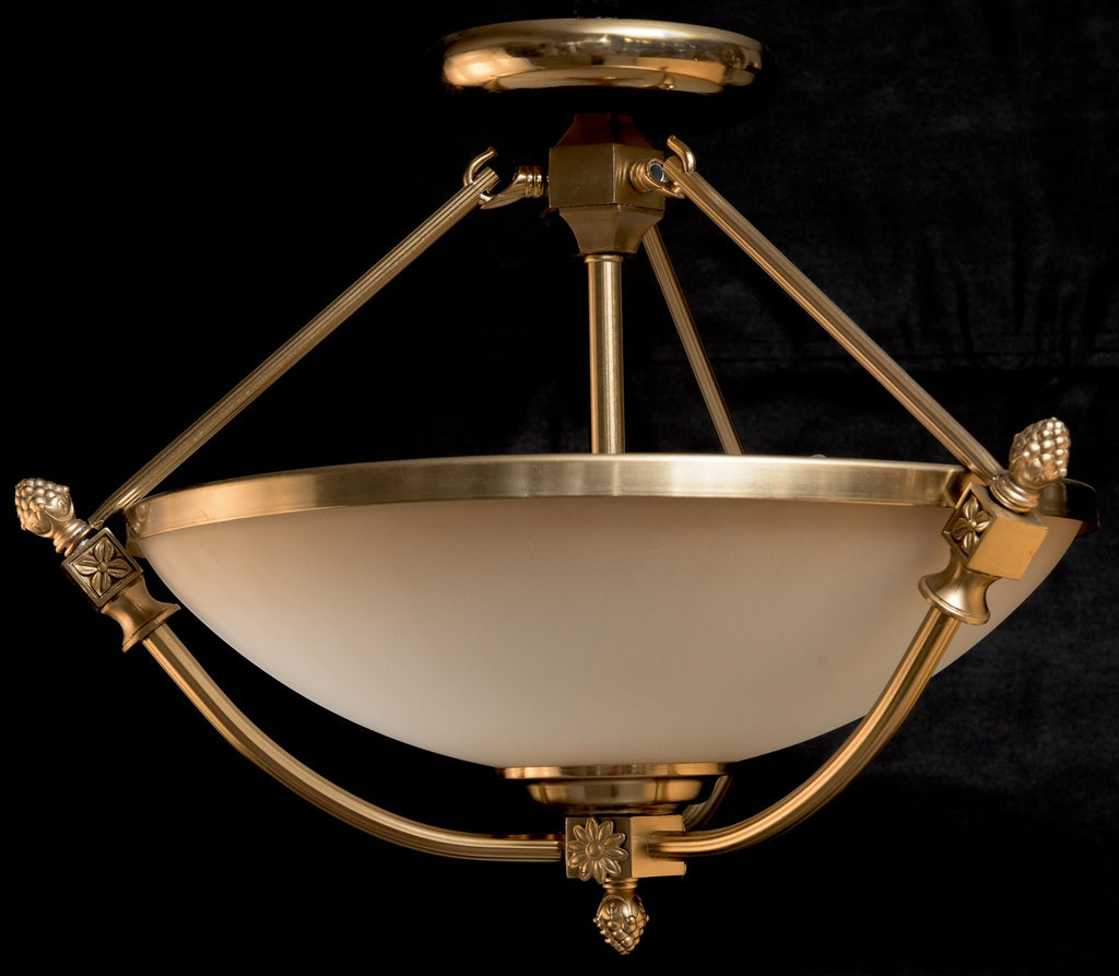 Classic Bronze Brass Glass Semi-Flush Pendant