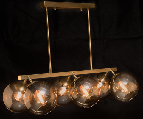 6 Light Bronze Modern Champagne Glass Chandelier