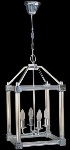 Chrome Crystal 4 Light Foyer Pendant Light