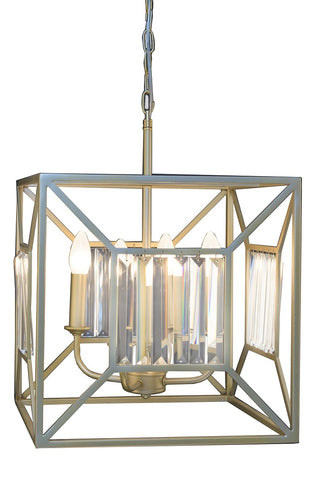 Modern Bronze and Crystal Pendant Light