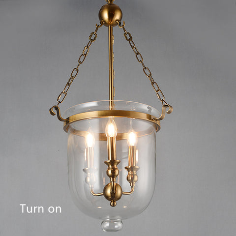 Bronze Glass Foyer Lantern Pendant Light