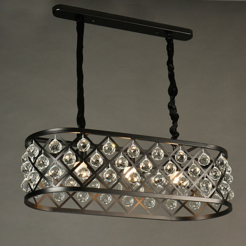 Black Retro Pendant Light with Crystals