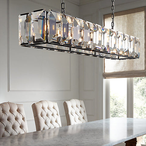 Black Loft Modern Block Crystal Pendant Light