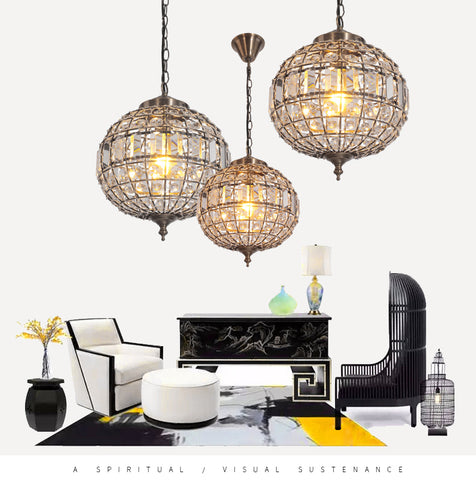 3 Size Islamic Crystal Ball Pendant Light