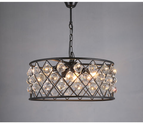 Black Industrial Loft with Crystal Pendant Light