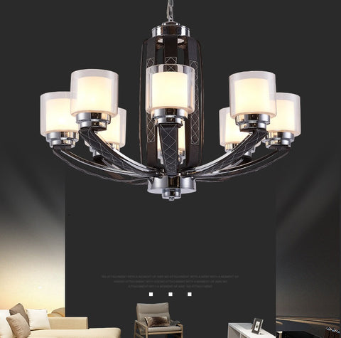 Black Modern Leather Chandelier