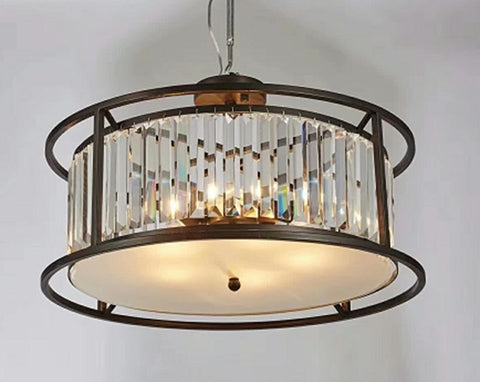 Brown Contemporary Crystal Ceiling Lamp