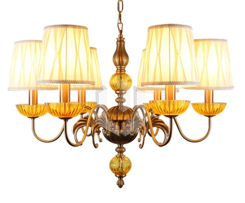 Classic Bronze Chandelier with Amber Glass