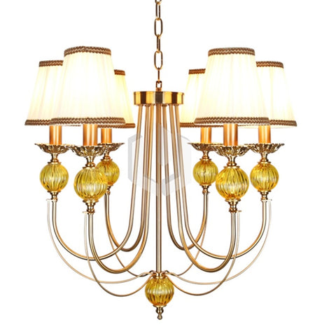 Classic Antique Gold 6 Light Chandelier