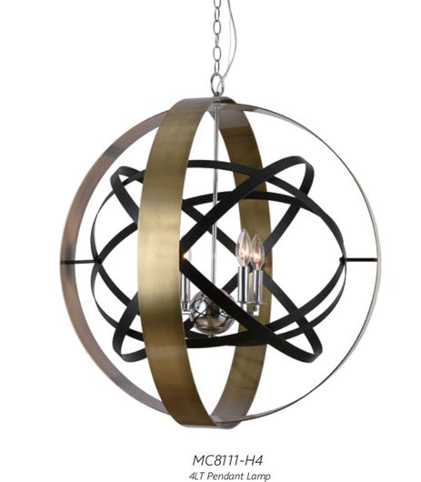 Art Deco Adjust-able Bronze/Black Pendant Light
