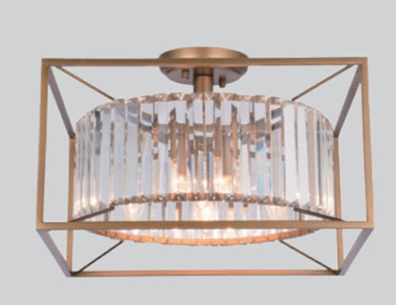 Bronze with Crystal Ceiling Lamp