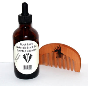 Buck Lee's Naturals Black Tie Scented Beard Oil w/Sandalwood comb