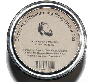 Buck Lee's Moisturizing Body Butter with Peppermint 3oz