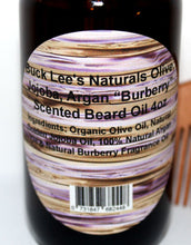 "Load image into Gallery viewer, Buck Lee's Naturals Olive, Jojoba, Argan ""Burberry"" Scented Beard Oil 4oz"