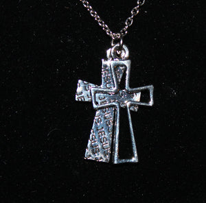 Buck Lee's Naturals Double Jesus Cross With Chain/Clasp