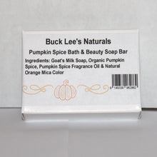 Load image into Gallery viewer, Buck Lee's Naturals Pumpkin Spice Bath & Beauty Soap Bar 3.5oz