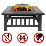 Fire Pit With Screen and Fire Poker - Courtyard Design
