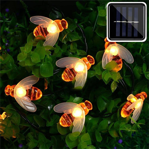 Honey Bee Outdoor String Lights - Solar Powered LEDs