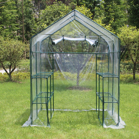 Walk in Outdoor Greenhouse 2 Tiers 8 Shelves Frame and Cover