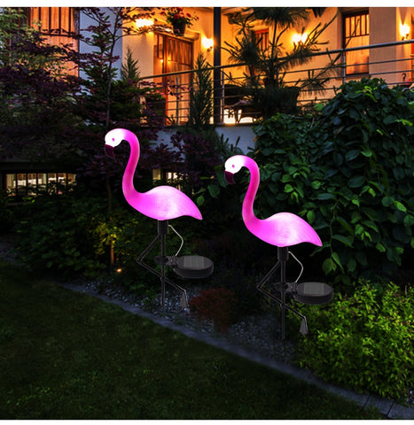 Solar LED Pink Flamingo Garden Light