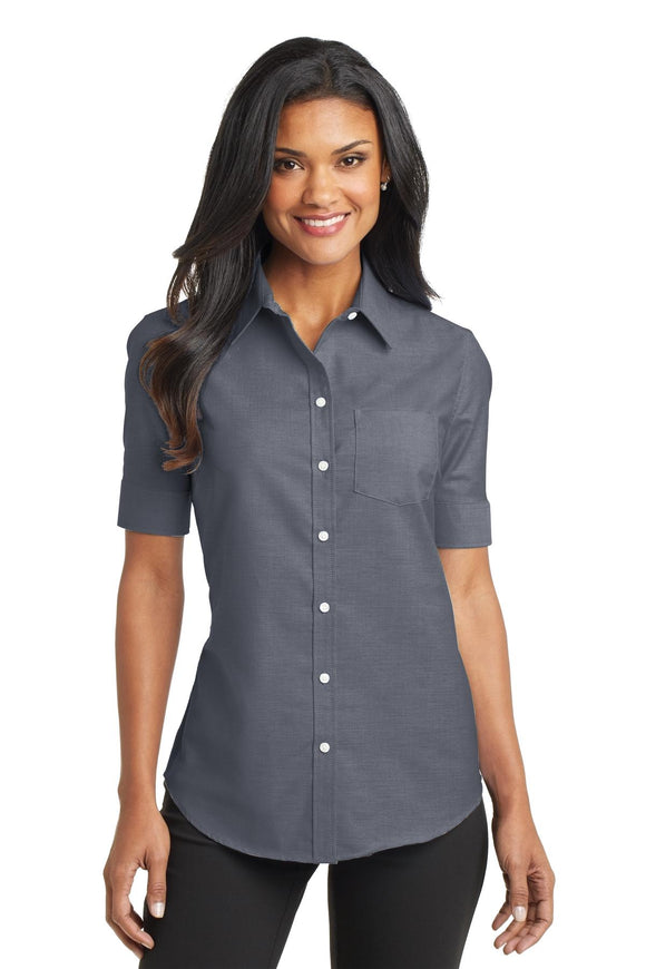 Port Authority® Ladies Short Sleeve SuperPro™ Oxford Shirt   L659