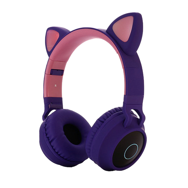 Cute Cat Ear Foldable Wireless LED Light FM Radio Vococal Bluetooth 5.0 Headphones