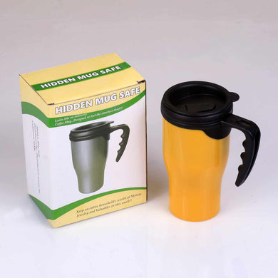 Travel Coffee Mug Yellow Plastic Concealment Diversion Safe Stash Safe - Concealment Cans
