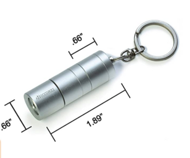 Silver Flashlight Keychain Hidden Safe Diversion Stash Safe - Concealment Cans