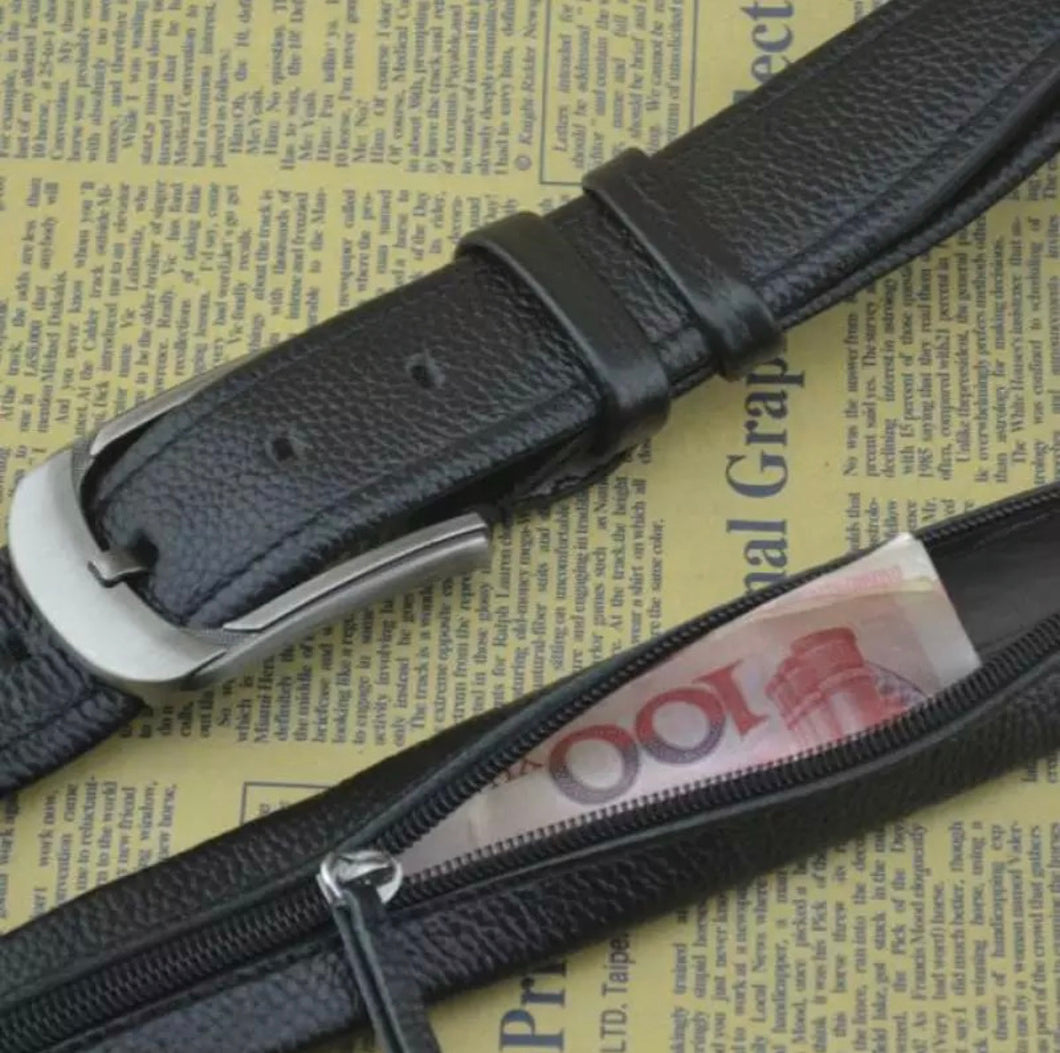 Hidden Leather Travel Belt Secret Wallet Money Diversion Stash Safe - Concealment Cans