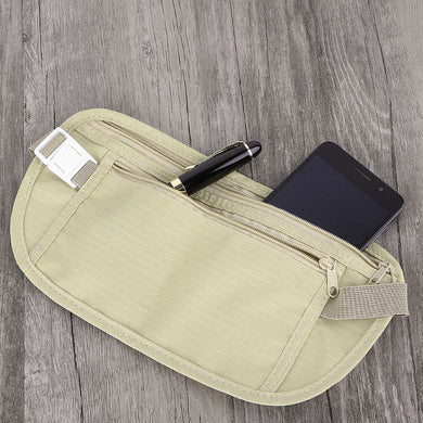Travel Pouch Secret Stash Hidden Wallet Passport Slim Waist Belt Bag - Concealment Cans