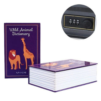 Book Safe with Lock and Key Stash Safe Wild Animal Dictionary - Concealment Cans