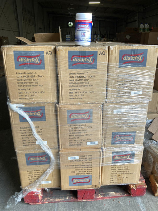 Disenfex Wipes 80 CT - 24 Pieces per Case - 27Cases  per Pallet