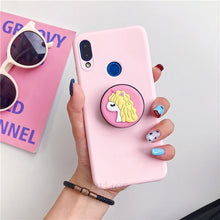 Load image into Gallery viewer, 3D silicone cartoon phone holder case for iphone x xr xs max 6 7 8 plus 6s 5s se cute stand back cover coque fundas