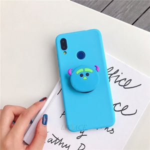 3D silicone cartoon phone holder case for iphone x xr xs max 6 7 8 plus 6s 5s se cute stand back cover coque fundas