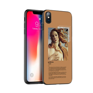 Black tpu case for iphone 5 5s se 6 6s 7 8 plus x 10 XR XS MAX case silicone cover Art Aesthetic Van Gogh Mona Lisa