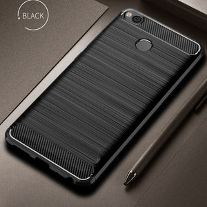 For Xiaomi Redmi 4X Case Bumper Anti-knock Soft TPU Silicon Cover Carbon Fiber Armor Case Cover For Xiaomi Redmi 4X Pro