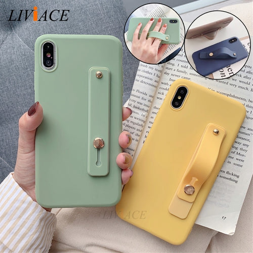case on for iphone x xr xs max wriststrap Hand Band silicone cases for iphone 8 7 6 6s plus 5 5s se holder stand tpu back cover