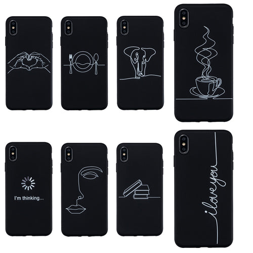 Abstract Silicone Case For Coque iphone XS Max X XR Case Soft TPU Phone Cases For iphone 7 8 6S 6 Plus 11 11 Pro Max Case Cover