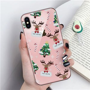 Merry Christmas Phone Case For iPhone 11 X XR XS Max 8 7 6 6s Plus Cartoon Santa Claus elk Soft TPU Silicon Cover Couples Cases
