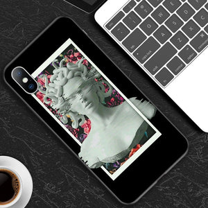 Lovebay For iPhone 6 6s 7 8 Plus X XR XS Max 11 Pro Max 5 5s SE Phone Case Abstract Art Statue Painted Soft TPU For iPhone X