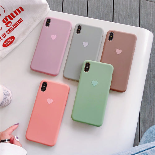 Silicone Bear Love Heart Case for iPhone XS MAX XR X Candy Color Phone Cases for iPhone 7 6 6S 8 Plus Soft TPU Shell Cover